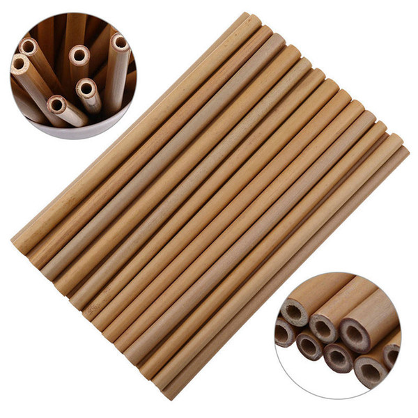 top popular Bamboo Straw Reusable Straw 20cm Organic Bamboo Drinking Straws Natural Wood Straws For Party Birthday Wedding Bar Tool DLH136 2021