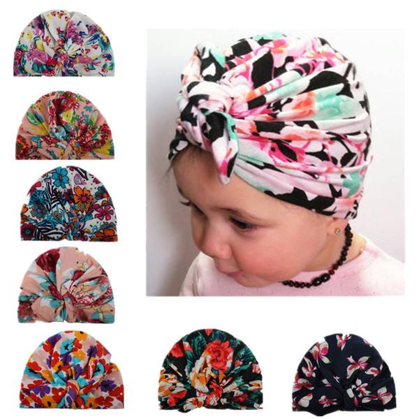 Baby Hats Floral Print rabbit Ear Caps Ears Cover Hat Turban Knot Head Wraps Infant Kids India Hats Beanie KKA6945