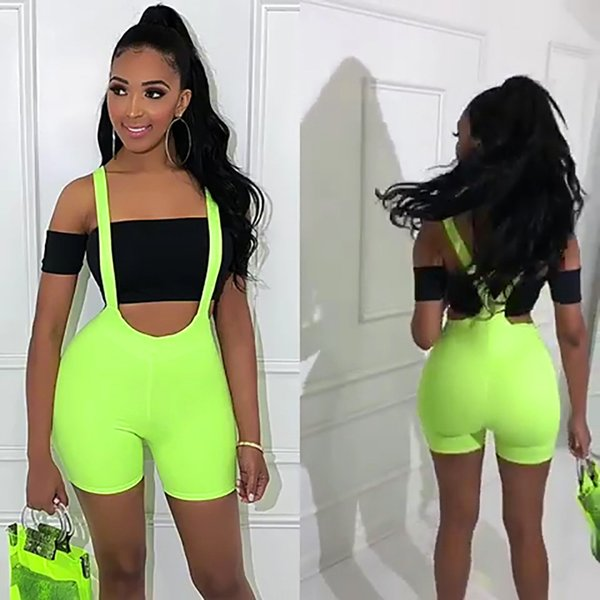 BKLD 2019 Femmes Été Sexy Bodycon Shorts Taille Haute Spaghetti Strap Shorts Clubwear Partie De Mode Néon Vert Ensemble