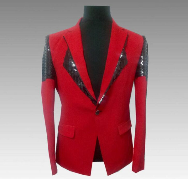 singers red sequins blazer men suits korean jacket mens stage costumes clothes dance star style dress punk rock masculino homme