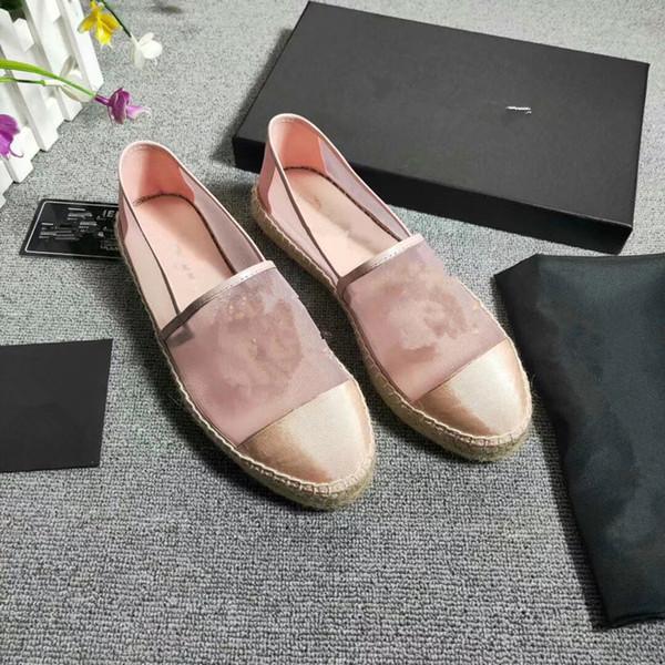 Espadrille de Couro das Mulheres novas Sapatos de Pescador Sapatos de Grife de Luxo Mulheres Sandálias Brancas Negras Atacado com caixa mi190513