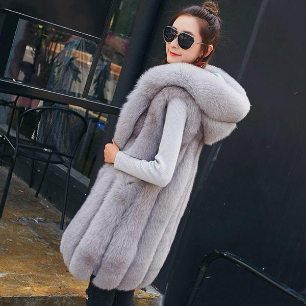 2018 Winter Thick Warm Faux Fox Fur Vest Women With Fox Fur Trim Hood Coat Women Outerwear Vest Jacket Long Parka 3XL