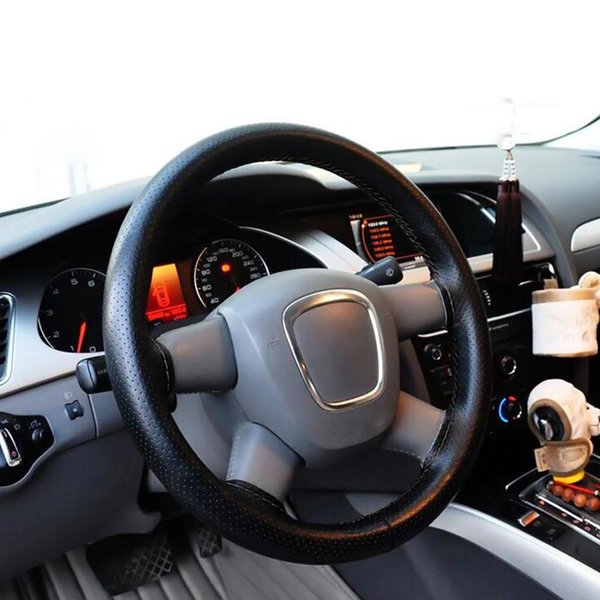 Cubierta universal del volante del coche Cubierta antideslizante de cuero del volante cosida a mano Cubierta del volante