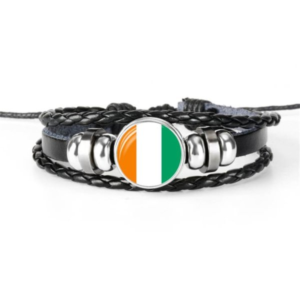 Hot Sale Multilayer Leather Rope Beaded Bracelets For Women Men Glass Cabochon Ivory Coast National Flag World Cup Football Fan Jewelry Gift