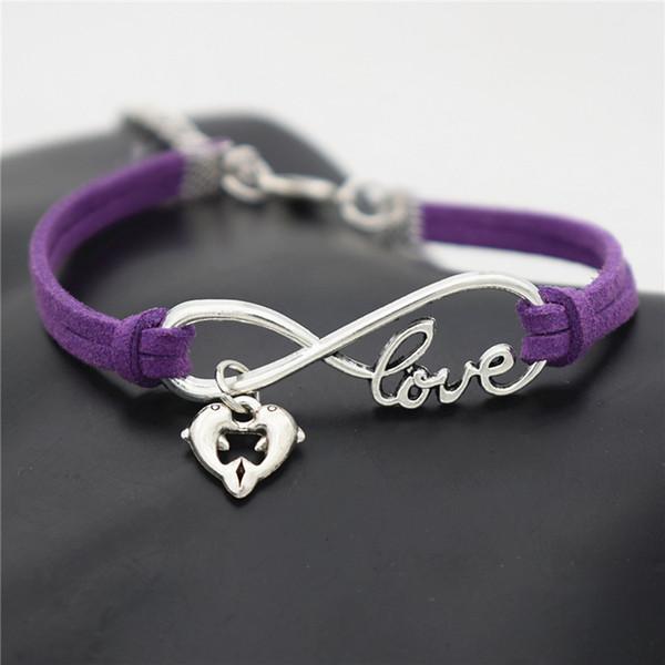 Infinity Love Double Dolphin Heart Animal Pendant Charm Bracelets For Women Men Jewelry Trendy Purple Leather Suede Rope Bangles Bijoux Gift