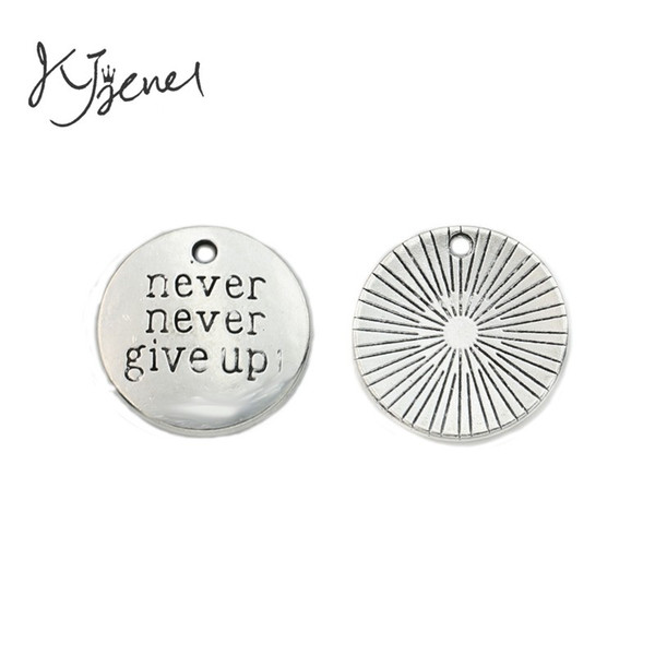 racelets charm pendants KJjewel Tibetan Silver Plated Never Give Up Charms Pendants fit Bracelet Necklace Jewelry Making Accessories DIY ...