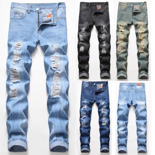 Le nouveau concepteur de Jeans Hommes Distressed Ripped Skinny Jeans Hommes Classique Slim lavé Moto Biker causales Hommes Denim Pantalons Hip Hop Hommes Jeans 039