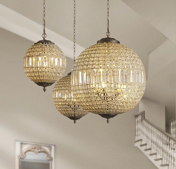 American Luxury Lustre K9 Crystal Round Circle Metal Led Pendant Lights French Crystal Luminaria Led Hanging Lamp for Corridor LLFA