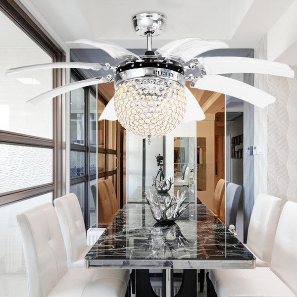 Invisible Crystal Light Ceiling Fans Modern LED crystal Parlor Ceiling Fans Crystal Light Remote Control 42-inch 220V 110V