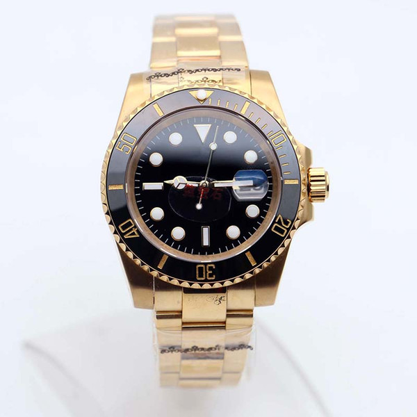 Новый стиль 116618LN Дайвинг желтое золото черный сапфир циферблат керамическая рамка с застежкой 2813 автоматические наручные часы мужские часы