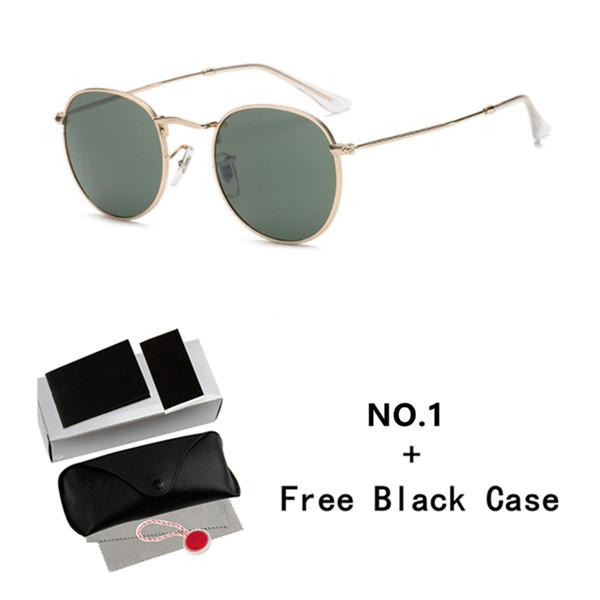 Lunettes de soleil rondes de marque classique femmes hommes cadre en métal uv400 lentille rétro lunettes de soleil vintage avec cas originaux et boîte