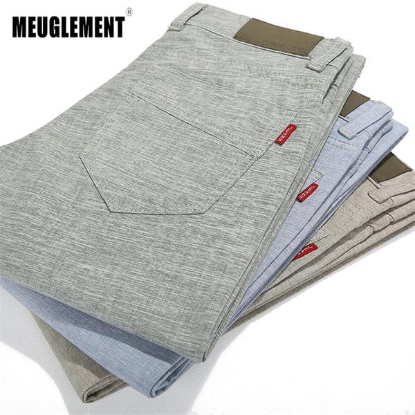 2018 Yaz Pantolon erkekler Keten Rahat Slim Fit Pantolon Moda İş Elbise Sweatpants Rahat Pantolon Erkek joggers Ücretsiz kargo