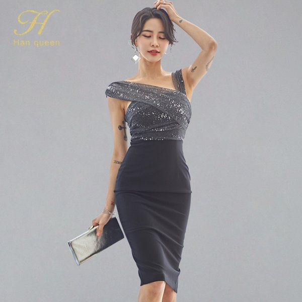 h han queen 3 color spaghetti strap patchwork pencil dress women summer 2019 strapless bottoming dresses club vestidos, Black;gray