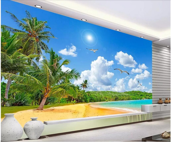 WDBH 3d wallpaper custom photo Coconut tree landscape with sea view background home decor 3d wall murals wallpaper for walls 3 d living room