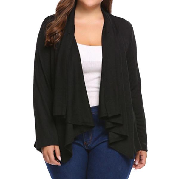 Giacca a scialle aperta casual casual a maniche lunghe con bottoni prospettiva sciolto giacca scialle e giacca donna invernale Veste Plus Size