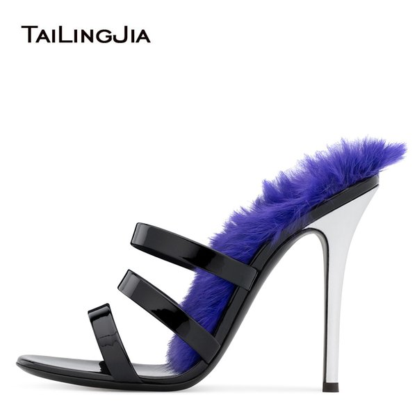 Open Toe Women High Heel Fur Mules Gorgeous Heeled Sandals Black Patent Leather Party Dress Heels Ladies Summer Strappy Shoes