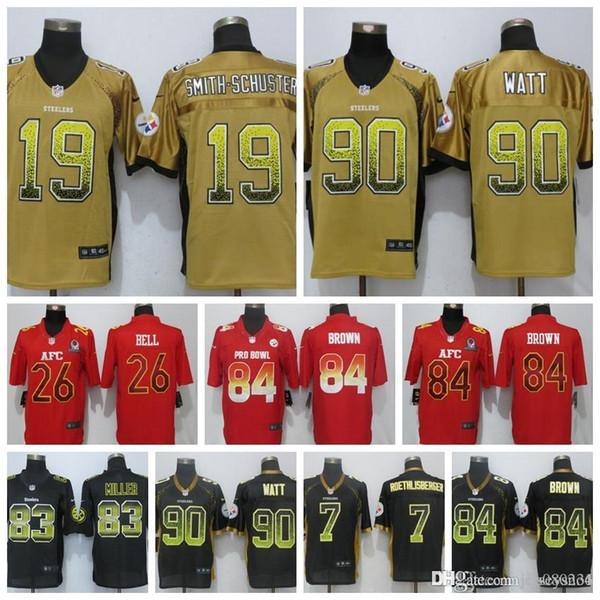 official photos 83823 832f7 2019 Men Pittsburgh Steelers Jersey 84 Antonio Brown 90 T.J. Watt 19 Juju  Smith Schuster 83 Miller 26 Le'Veon Bell 7 Roethlisberger Jerseys From ...