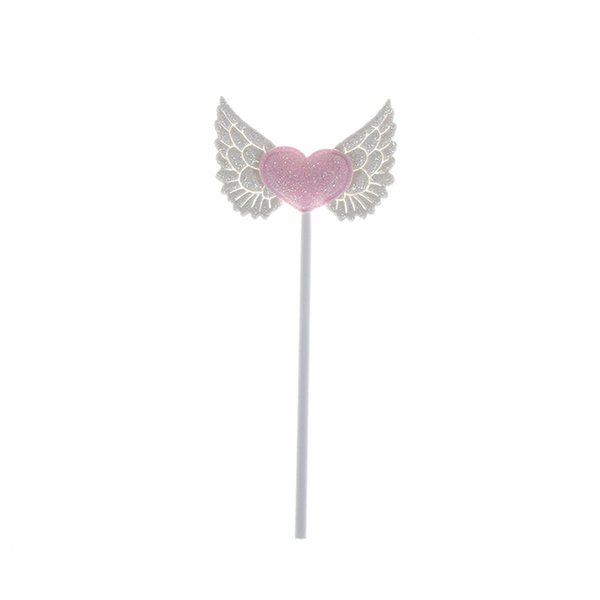 5PCS Pink White Wings Shape Love Angel for Birthday Party DIY Gifts Kid GiftBirthday Cake Topper Decoration Dessert