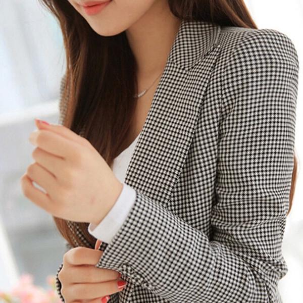 2019 new style fashion autumn women sexy slim plaid jackets short coat grey OL suit ladies casual outwear