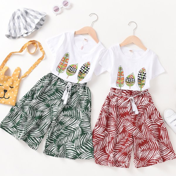 Girls two-piece new big children's beach seven pants Korean casual vacation summer cotton short sleeve suit Girl T-shirt pants