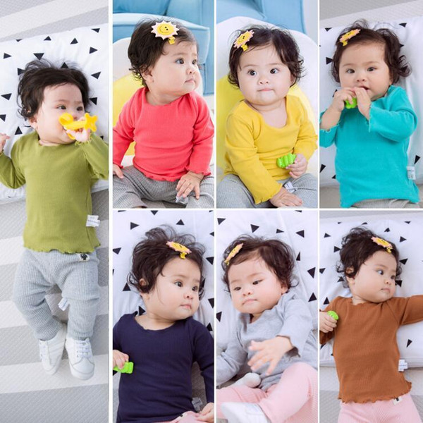 2019 autumn spring boys girls t shirts toddler solid pit cotton t-shirt baby candy all match casual clothes children 1-4 years