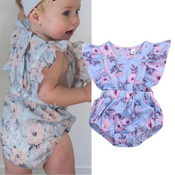 Ins floral mameluco del bebé Verano recién nacido bebé niña ropa bebé infantil niña diseñador de ropa Recién nacido mameluco infantil mono A5440
