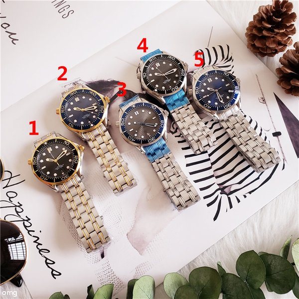 Watch Automatic Movment Stainless Steels Band Black BLUE Dial Sport Men Watches