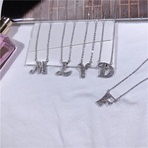 Fashion DIY Custom Name Silver Necklace Real 925 Sterling Silver Letter Pendant Necklace 18K White Gold Chain Locket Necklace Jewelry