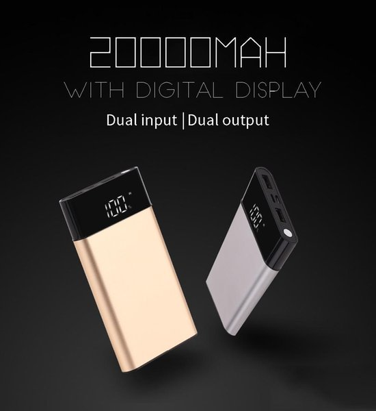 new Power Bank External Battery PoverBank 2 USB LCD Powerbank Portable Mobile phone Charger for Xiaomi MI iphone 7/8 X