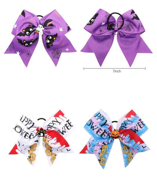 8pcs/lot Halloween 7'' Cheer Bows for Girls Handmade Funny Print Grosgarin Ribbons Hair Rubbr Band Ropes Party Gifts Kids Headwear