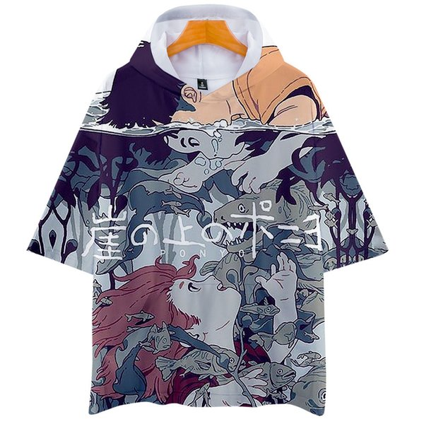 Steep Cliff On Real Goldfish Woman ( Ponyo And Zongjie ) 3d Bring Hat Short Sleeve T Pity Men And Women