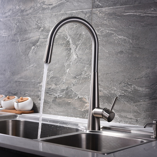 Pull Out Kitchen Faucets Deck Mounted Brassl Kitchen Sink Faucet Hot Cold Mixer Taps Brushed Water Tap Single Handle