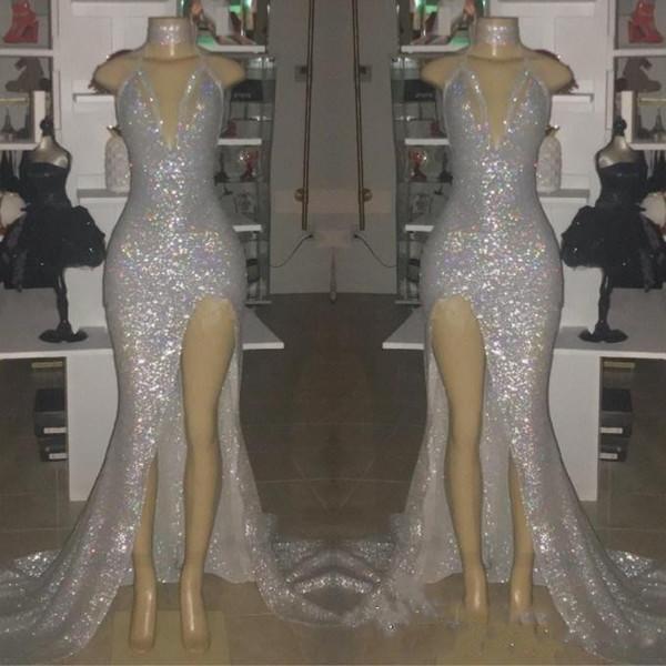 Sexy Silber V-Ausschnitt Sleeveless Mermaid Long Prom Kleider 2019 Echt Fotos Halfter Backless Plus Size Split Formale Party Abendkleider BC0633