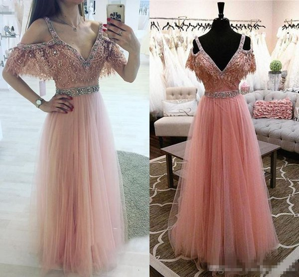 Elegant Pink Lace Evening Dresses V-Neck With Beaded Red Carpet Gowns Back Zipper Peplum Custom Made Tiered Ruffle Formal Occasion Gowns