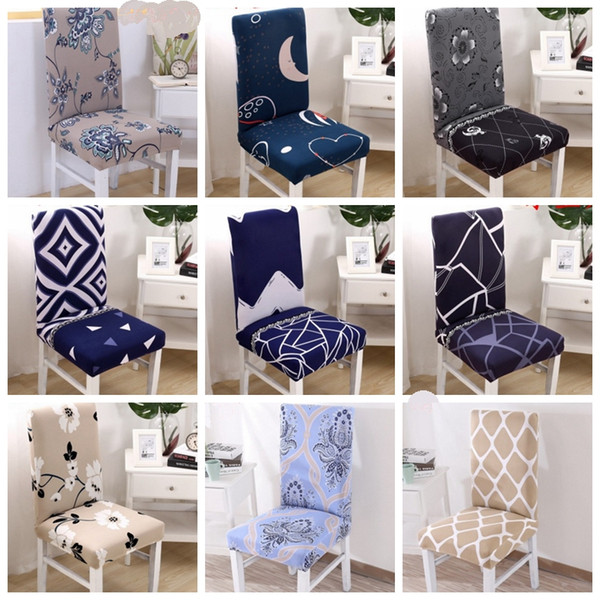 Spandex Chair Covers Stretch Chair Cover Removable Dining Seat Covers Elastic Slipcover Office Banquet Wedding Decor 38 Designs YW2726