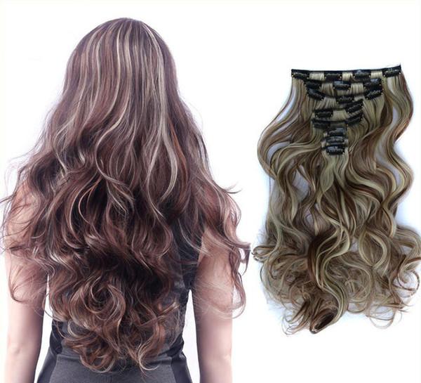 Big Wave longs bouclés cheveux clip dans les extensions de cheveux Patch 8 Piece Suit 60 cm de long