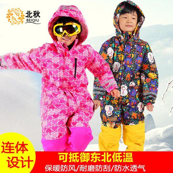 Boy Girl Ski Suit jumpsuit children Waterproof Windproof Ski Snowboard Children Jumpsuit Kid Hooded One-piece