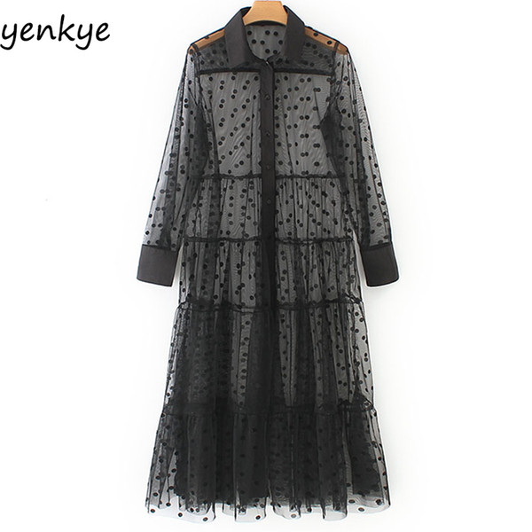 Fashion 2019 Women Polka Dot Tulle Semi-sheer Sexy Dress Female Turn-down Collar Long Sleeve A-line Long Dress Summer Plus Size J190710