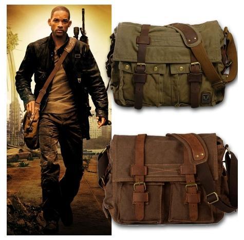 Sunflower Canvas Leather Men Messenger Bags I AM LEGEND Will Smith Big Satchel Shoulder Bags Male Laptop Briefcase Travel Handbag