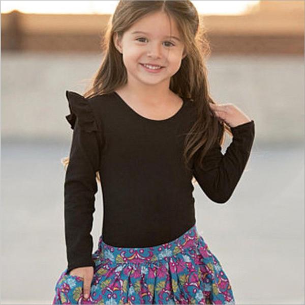Venta caliente 2019 Girls Multicolor tops manga larga Sólido tops tops Otoño Bebé ropa de niña 100% algodón
