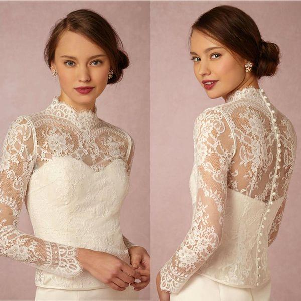 High Neck Bridal Wraps Long Sleeve Wedding Lace Applique Jackets Cheap Bridal Jacket Bolero Jacket Plus Size