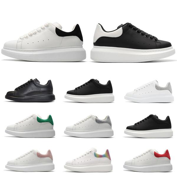 2019 designer Chaussures de marque de luxe pour femmes, hommes, baskets en cuir à la mode 3M noir réfléchissant en velours noir à semelle épaisse