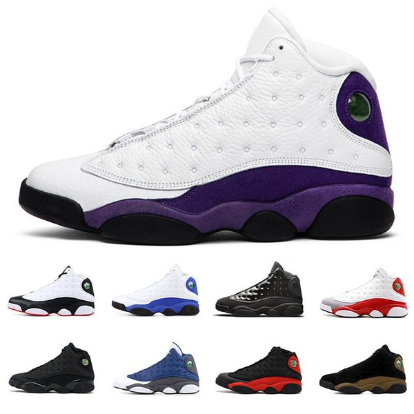 air jordan retro 13 13s zapatos de baloncesto para hombre Court Purple Gorra y vestido Atmosphere Grey Dirty bred Hyper Royal Grey toe Black cat men sports sneakers