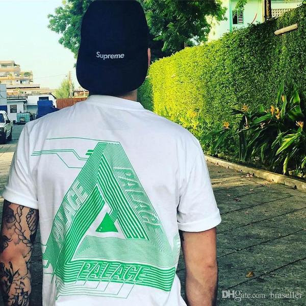 19ss New Herren Designer T-Shirt Sommer Dreieck Print schwarz PALACES Marke T-Shirt Herren Tops T-Shirt Baumwolle Kurzarm Damenmode Tops T-Shirt