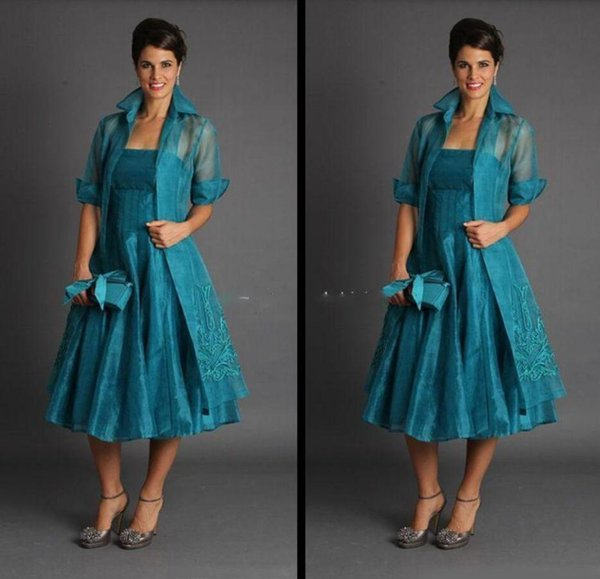 Plus Size Short Mother of The Bride Dresses 2019 with 3/4 Long Sleeve Jacket Strapless Organza Tea Length Suits Evening Gowns Custom Made