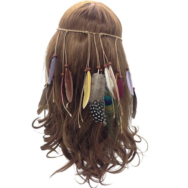 Piuma Fascia Nappa Corda di Canapa Bohemian Peacock Piume Hairband Stile Indiano per Le Donne Ragazze Festival Copricapo Moda