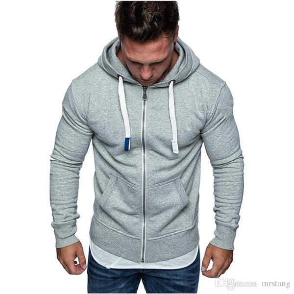Men Sweatshirts Hoodies Zipper Up Solid Slim Fit Sportswear Men Hoodies Long Sleeve Casual Hooded Zipper Hoodie