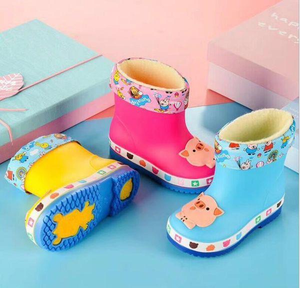 2019 Botas de lluvia para niños Zapatos para niños pequeños Nudo a prueba de agua con arco Jelly Kids Rainboots Zapatos de goma para niñas