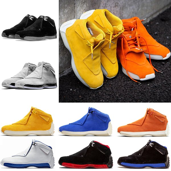 XVIII Mens Basketball shoes 18 Brand 18s Toro Red Suede Fashion Yellow Orange Blue Royal Cool Grey OG CDP Trainer Athletic Sport Sneakers