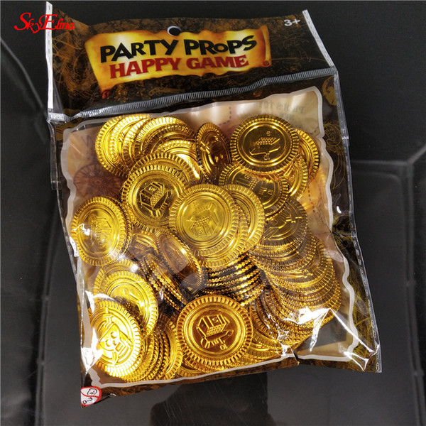 50/100pcs Gold Coins Pirate Game Halloween Play Money Pirate Party Party Christmas Decoration Supplies Toy coins diameter 3cm 6z